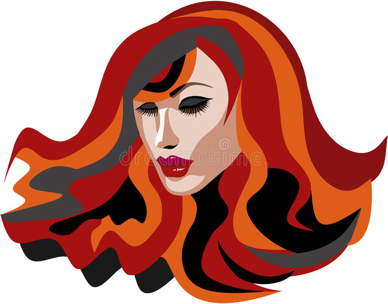 Beautiful Red Head woman with long lashes. And full lips stock illustration