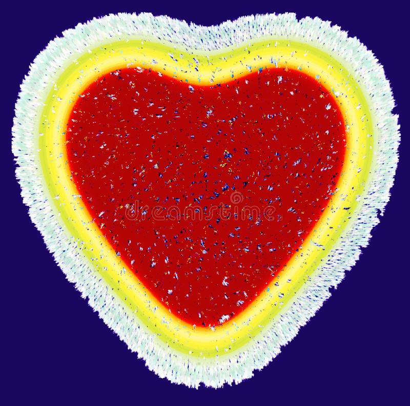 Beautiful red heart on blue color  background image and  wallpaper design vector illustration
