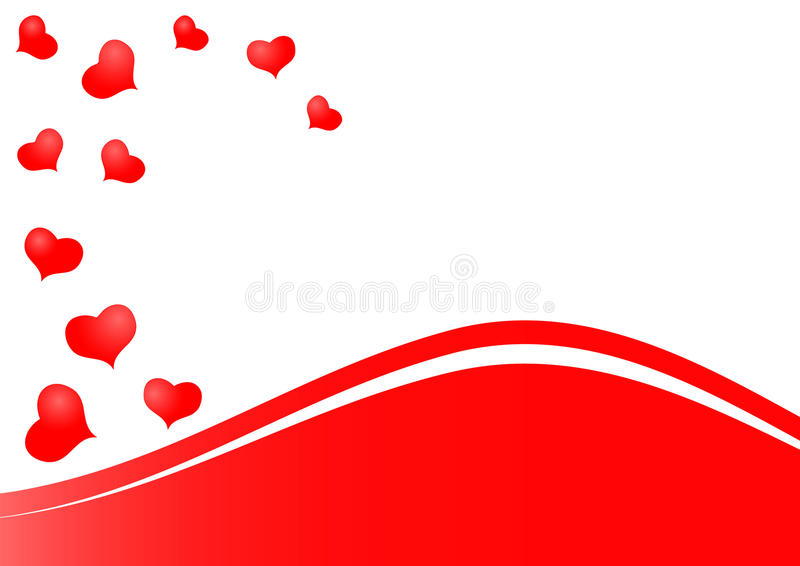 Beautiful red hearts background as symbol of love. Beautiful red hearts as symbol of love isolated on white background with red waves vector illustration
