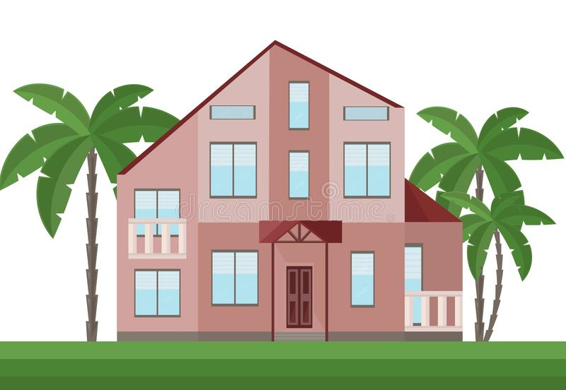 Beautiful red house architecture facade and palm trees Vector. Illustration stock illustration
