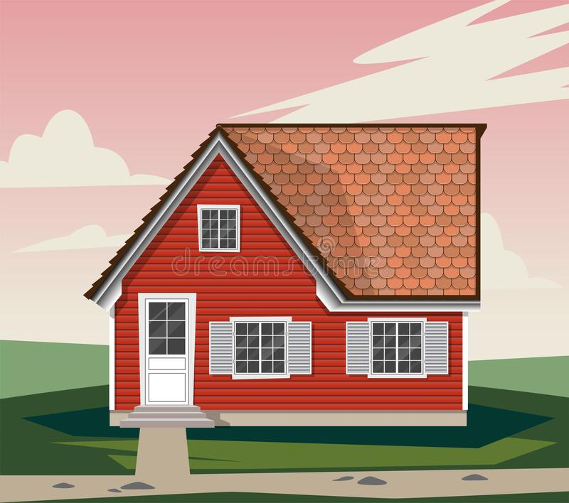 Beautiful red house with white Windows. Shutters, wooden Windows, wooden cozy house. A house in the country. Vector graphics stock illustration