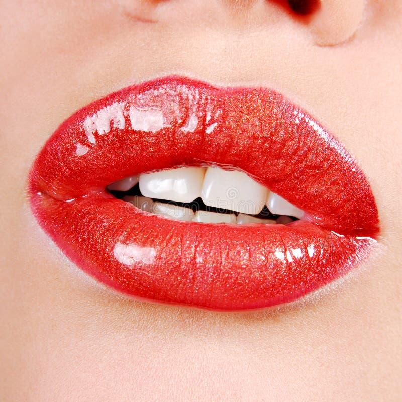 Beautiful red lips stock photography