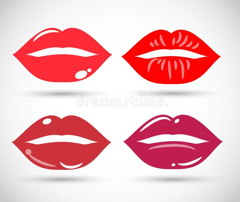 Beautiful red lips icons collection. Art royalty free illustration