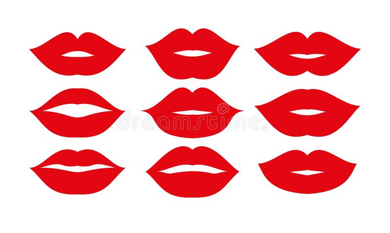Beautiful red lips icons collection vector. Art royalty free illustration