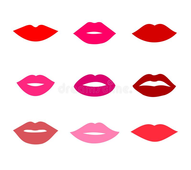 Beautiful red lips icons collection vector. Art stock illustration