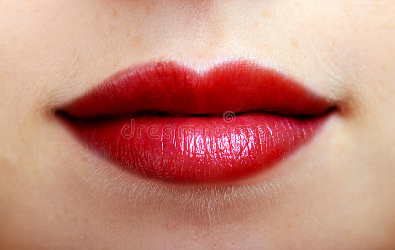 Beautiful red lips of a woman royalty free stock image