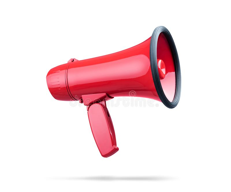 Beautiful red megaphone, isolated on white background. File contains a path to isolation stock images