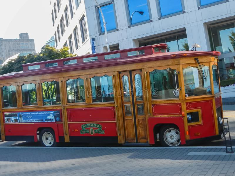 Beautiful red old town trolley tour bus in Vancouver canada royalty free stock photos