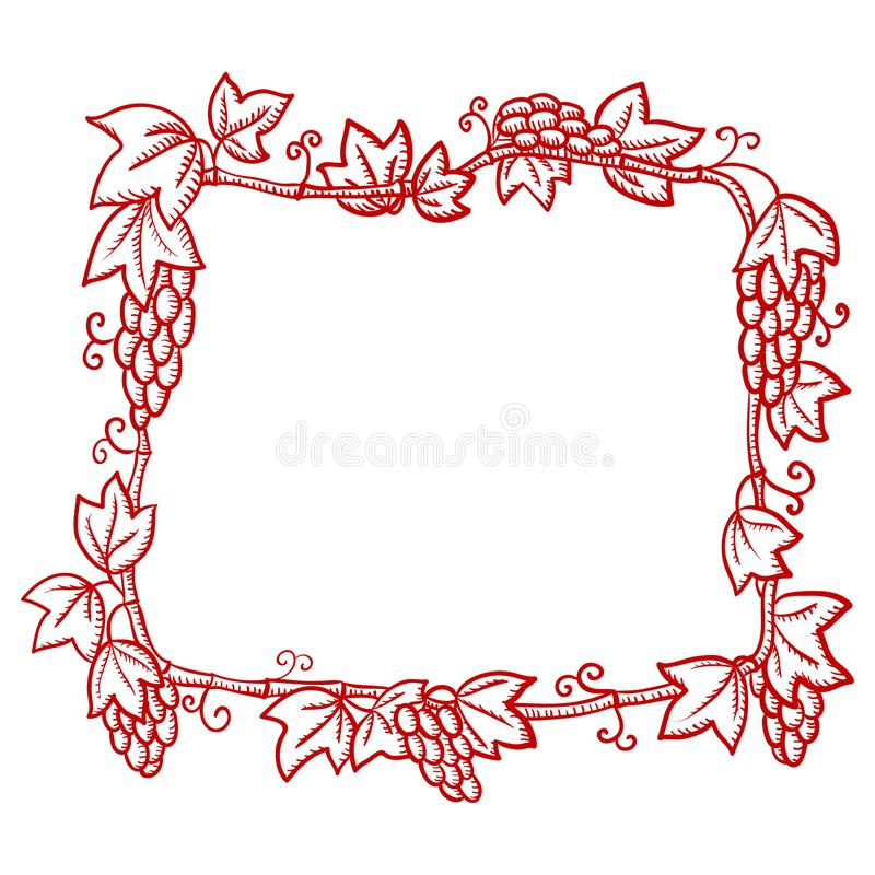 Beautiful red ornate frame, with grape patterns, silhouette-drawing on white background, royalty free illustration
