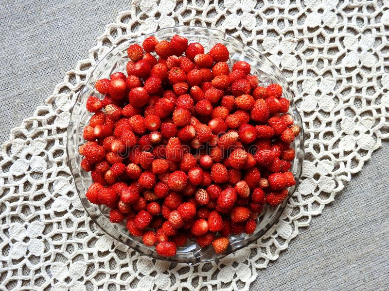 Red ripe strawberry in plate  , Lithuania royalty free stock image