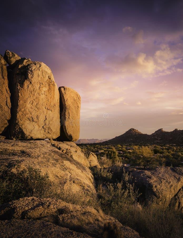 Beautiful red rock boulders overlooking north Scottsdale area in Arizona,USA stock image