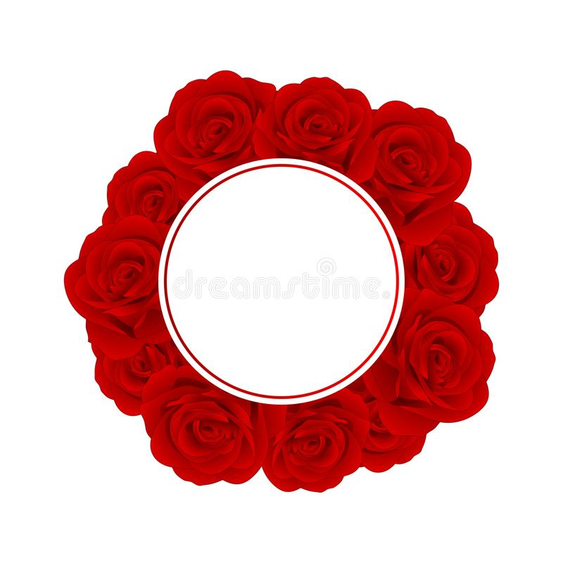 Beautiful Red Rose Banner Wreath - Rosa isolated on White Background. Valentine Day. Vector Illustration.  royalty free illustration