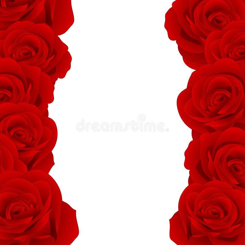 Beautiful Red Rose Border - Rosa isolated on White Background. Valentine Day. Vector Illustration. stock illustration