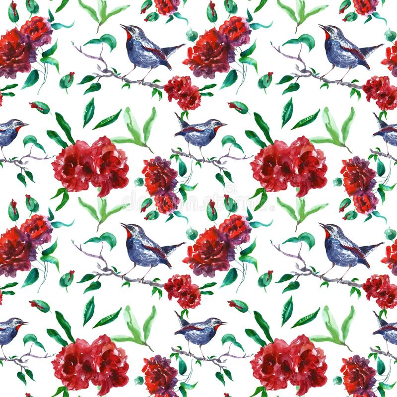 Beautiful red roses seamless pattern with bird on tree branch. English garden print on white background. royalty free illustration