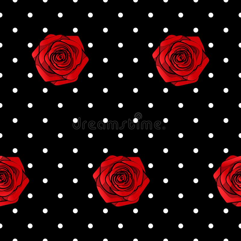 Beautiful red roses seamless pattern with dots design, vector square illustration. Beautiful red  roses seamless pattern with dots design, vector square royalty free illustration