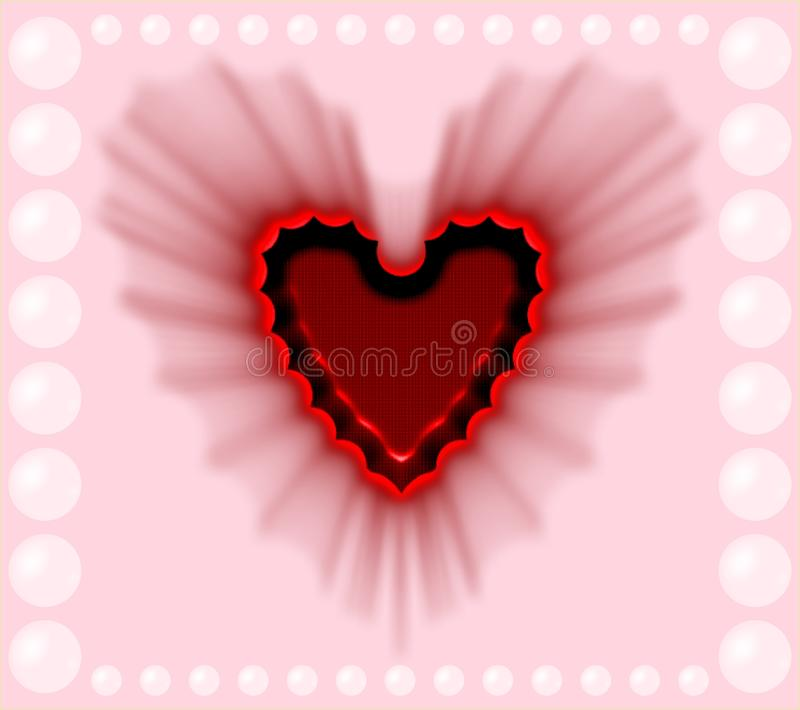 Beautiful red shaded heart on a pink and pearl background computer generated image design. Useful for many purpose like ,printing , screen savers , festivals royalty free illustration