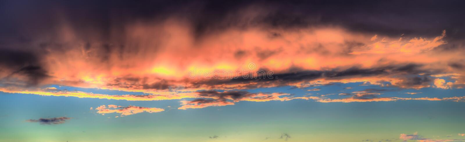 Beautiful red sky and cloud in sunset, colorful evening nature. stock images