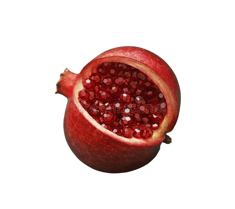 Beautiful red sliced pomegranate on a white isolated background. Pomegranate fruit with red shiny garnet beads instead of seeds stock photo