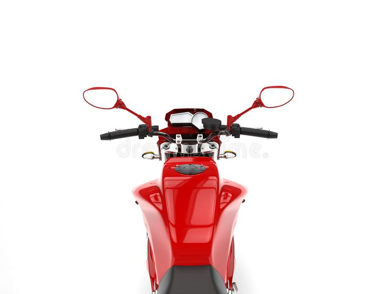 Beautiful red sports motorcycle - riders point of view. Isolated on white background vector illustration