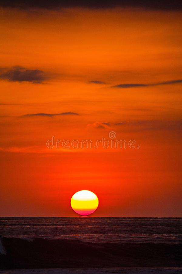 Beautiful red sunset over the ocean. stock image