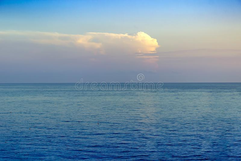 Beautiful red sunset over the sea. Summer landscape royalty free stock photo