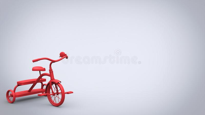 Beautiful red toy tricycle - bright background stock illustration