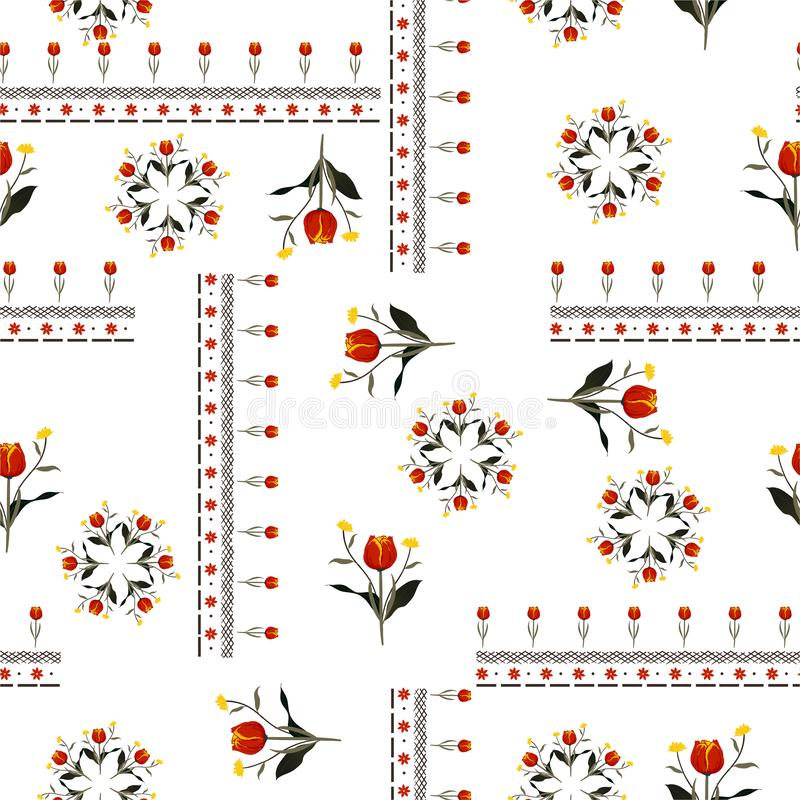 Beautiful red tulip flowers with line in bohemian scarf style seamless pattern vector design for fashion,fabric ,web,wallpaper and. All pints on white vector illustration