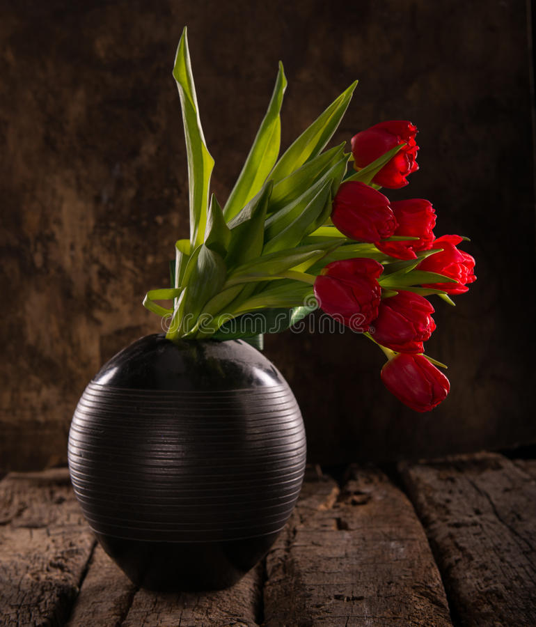Beautiful red tulips in black vase stock photos