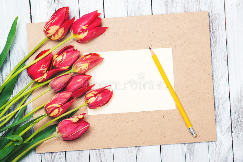 Beautiful red tulips , empty paper sheet on wooden background. Mother`s day. stock images