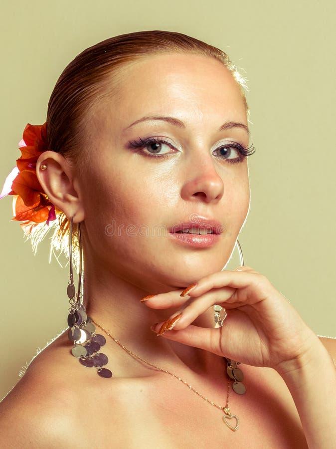 Beautiful woman wearing flamenco dress stock photography
