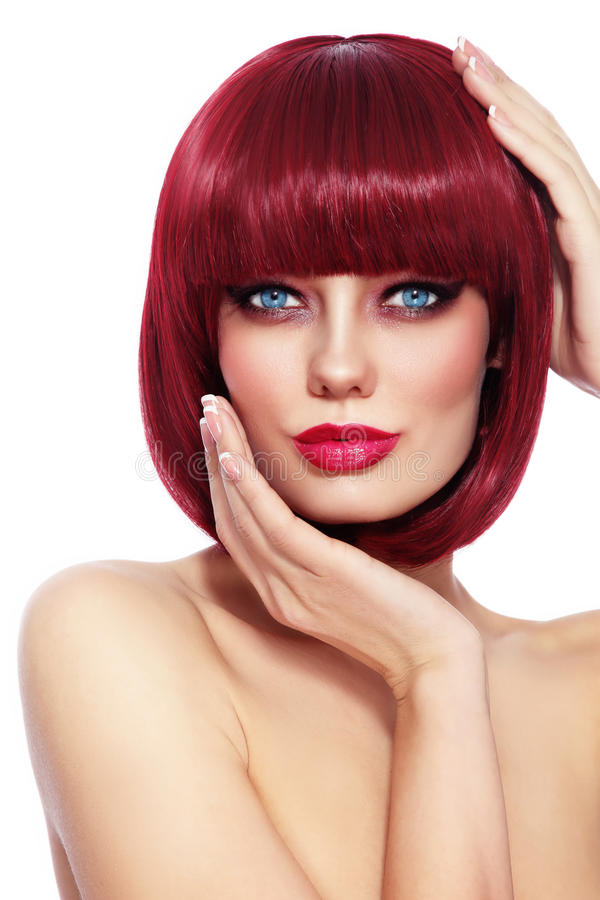 Beautiful redhead girl with bob haircut stock image