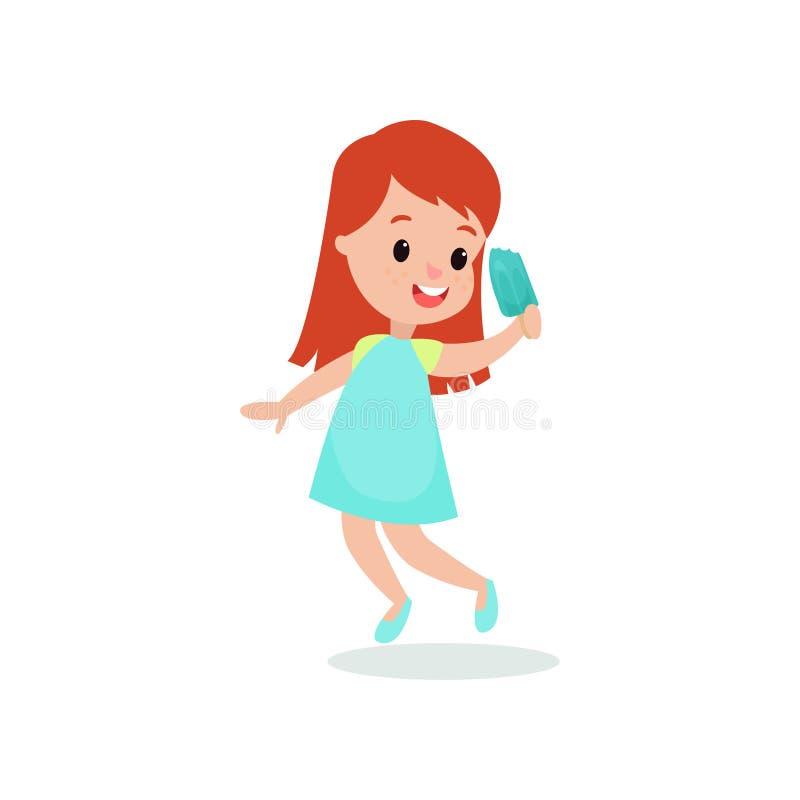 Beautiful redhead girl feeling happy with her ice cream cartoon vector illustration stock illustration