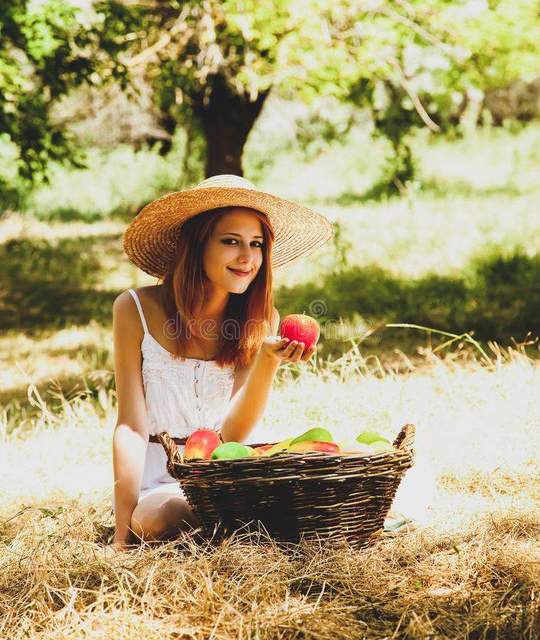 Beautiful redhead girl with fruits in basket royalty free stock images