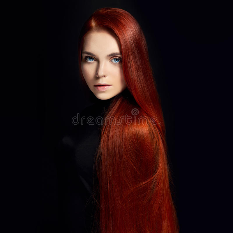 Free Beautiful Redhead Girl With Long Hair. Perfect Woman Portrait On Black Background. Gorgeous Hair And Deep Eyes Natural Beauty Royalty Free Stock Image - 94328776
