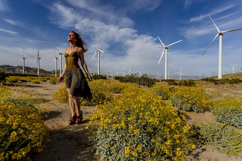 Sexy Redhead Model Posing Outdoors With Wind Turbines In The Background stock image