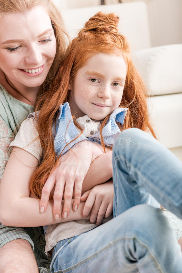 Redhead mom and daughter