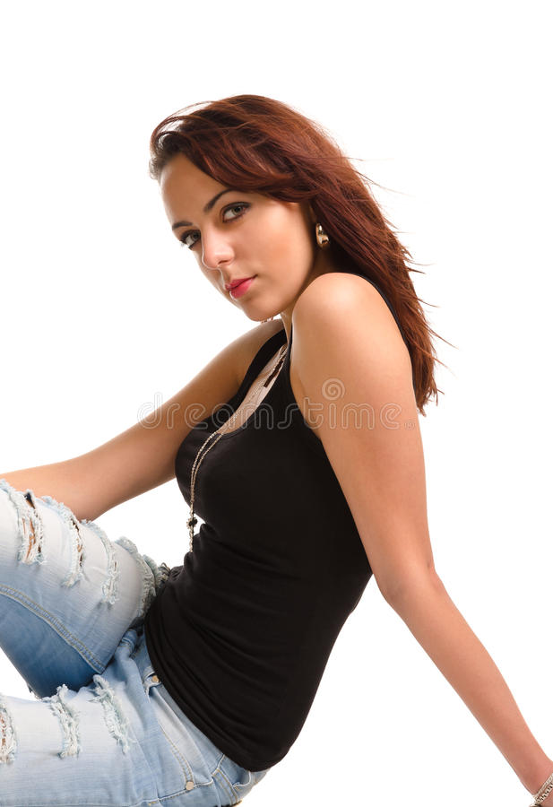 Beautiful redhead student royalty free stock photography