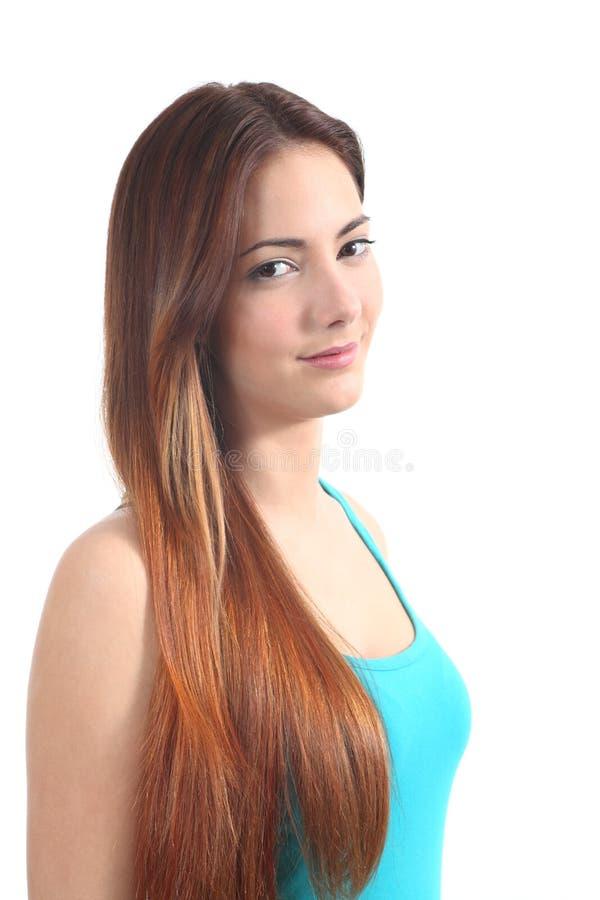 Beautiful redhead teenager smiling stock image