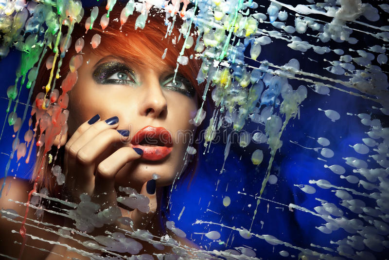 beautiful redhead woman stock photography