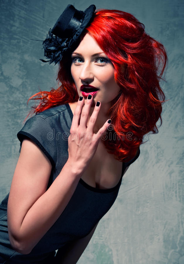Beautiful redhead woman royalty free stock photos