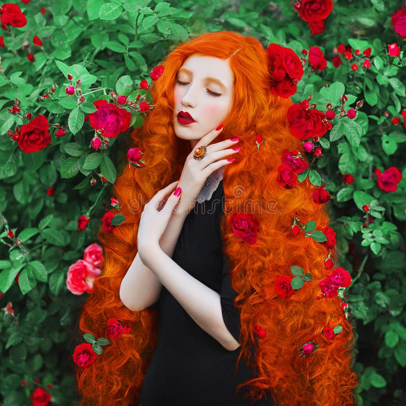 Free Beautiful Redhead Woman With Hairdo From Roses. Portrait Of Young Unusual Pale Girl With Red Hair In Rose Garden. Royalty Free Stock Photography - 119846157