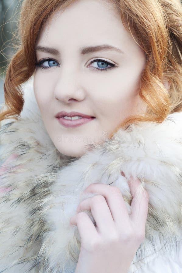 Download Beautiful Redheaded Woman In Fur Coat Stock Photo - Image: 37682044