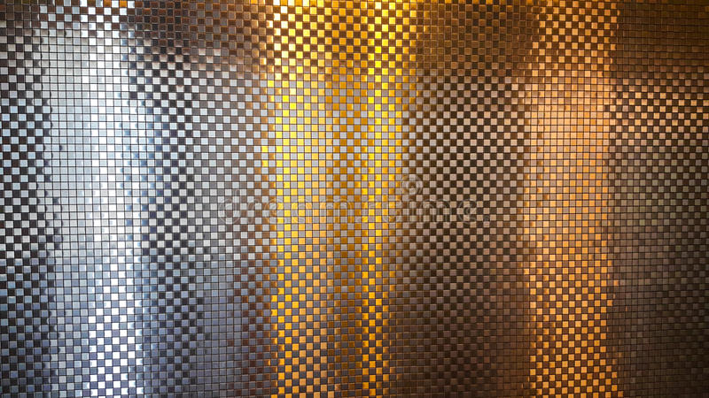 Beautiful of Reflective Mosaic Silver and Gold Wall royalty free stock photo