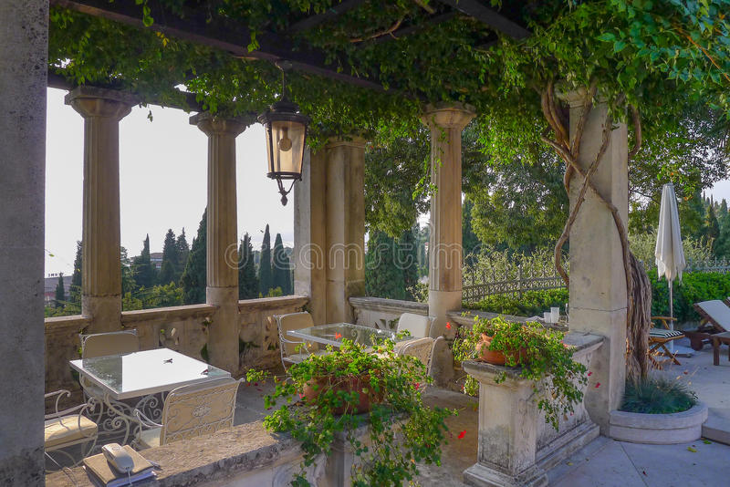 Beautiful relaxing Italian garden in Sirmione on Lake Garda royalty free stock images