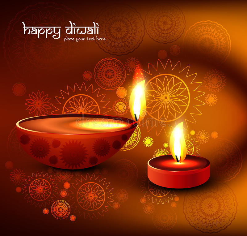Beautiful religious colorful diwali festival with stock illustration