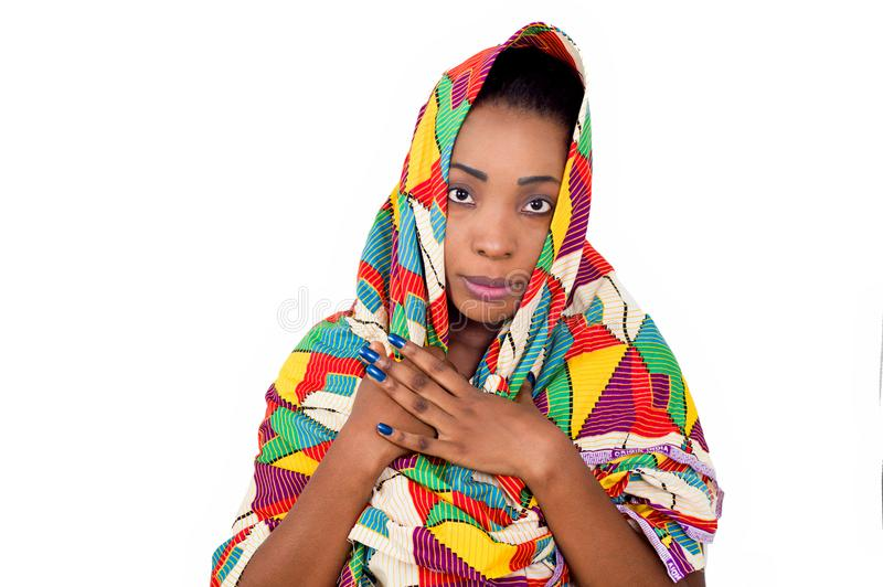 Beautiful young African woman wearing a veil royalty free stock photo