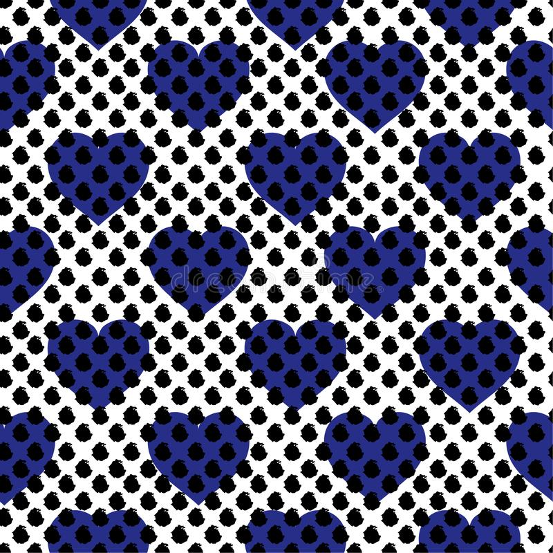 Beautiful Repeated brush polka dots on top with blue hearts in layering. Cute romantic seamless pattern. Endless vector stock illustration