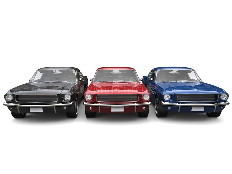 Beautiful Restored Vintage American Muscle Cars - Blue, Red And ...