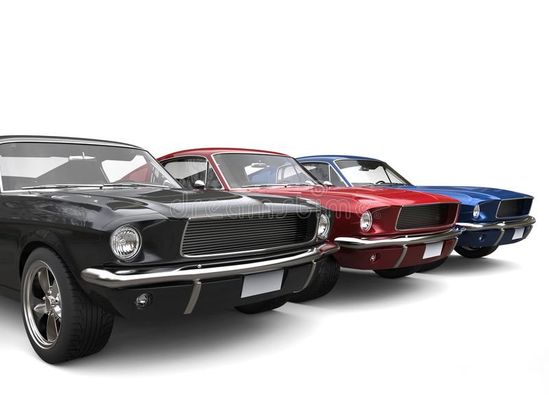 Beautiful Restored Vintage American Muscle Cars Stock Illustration ...