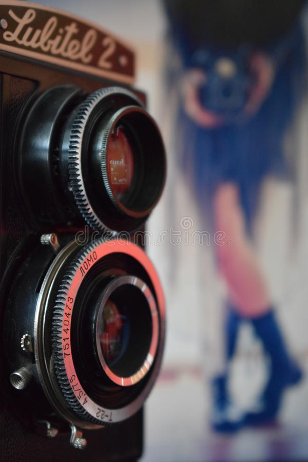 Beautiful retro camera lubitel 2. The beautiful retro camera lubitel 2 royalty free stock photo